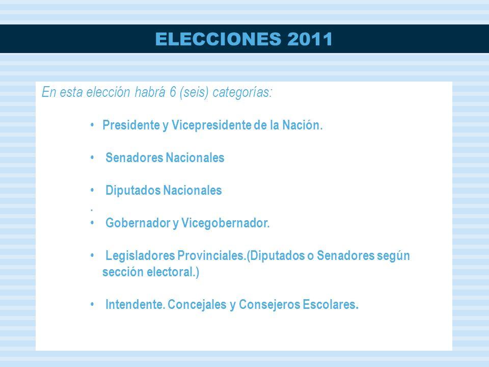 ELECCIONES 2011 En esta elección habrá 6 (seis) categorías: Presidente y Vicepresidente de la Nación.