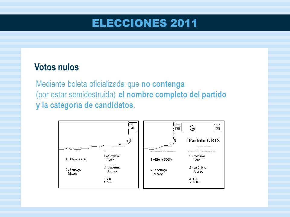 ELECCIONES 2011 Mediante boleta oficializada que no contenga (por estar semidestruida) el nombre completo del partido y la categoría de candidatos.