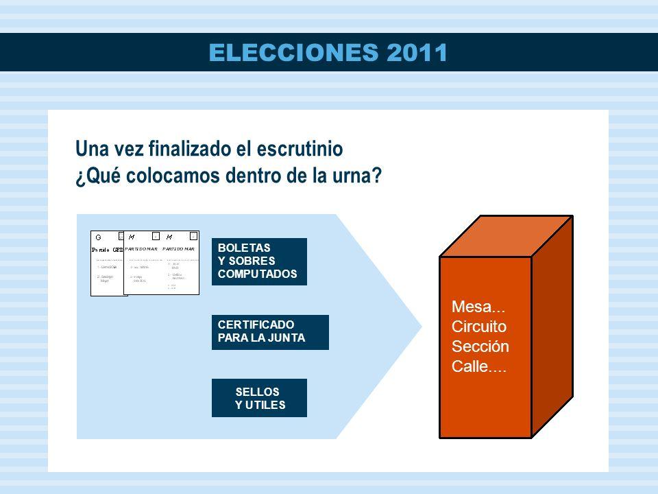 ELECCIONES 2011 Mesa...Circuito Sección Calle....