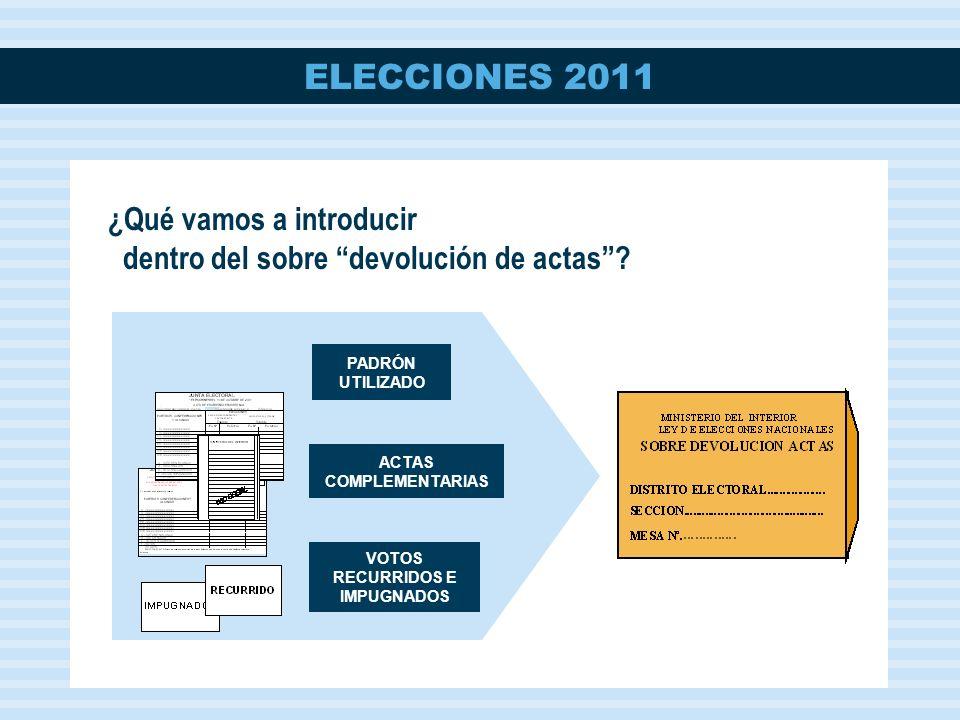 ELECCIONES 2011 ACTAS COMPLEMENTARIAS PADRÓN UTILIZADO VOTOS RECURRIDOS E IMPUGNADOS ¿Qué vamos a introducir dentro del sobre devolución de actas?