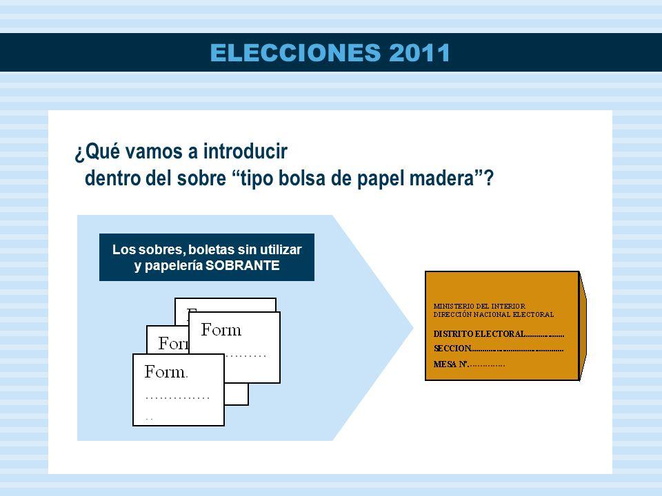 ELECCIONES 2011 Los sobres, boletas sin utilizar y papelería SOBRANTE ¿Qué vamos a introducir dentro del sobre tipo bolsa de papel madera?