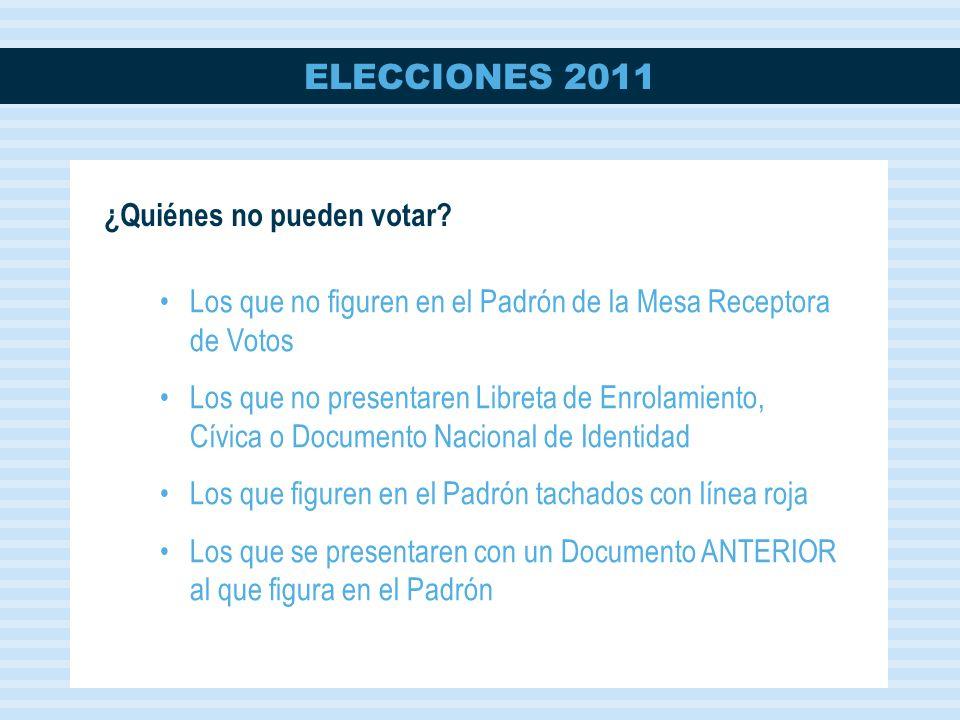 ELECCIONES 2011 ¿Quiénes no pueden votar.
