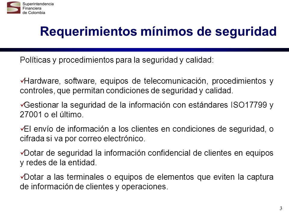3 Requerimientos mínimos de seguridad Políticas y procedimientos para la seguridad y calidad: Hardware, software, equipos de telecomunicación, procedi
