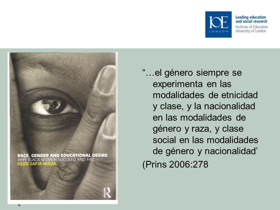 4 …el género siempre se experimenta en las modalidades de etnicidad y clase, y la nacionalidad en las modalidades de género y raza, y clase social en las modalidades de género y nacionalidad (Prins 2006:278 4