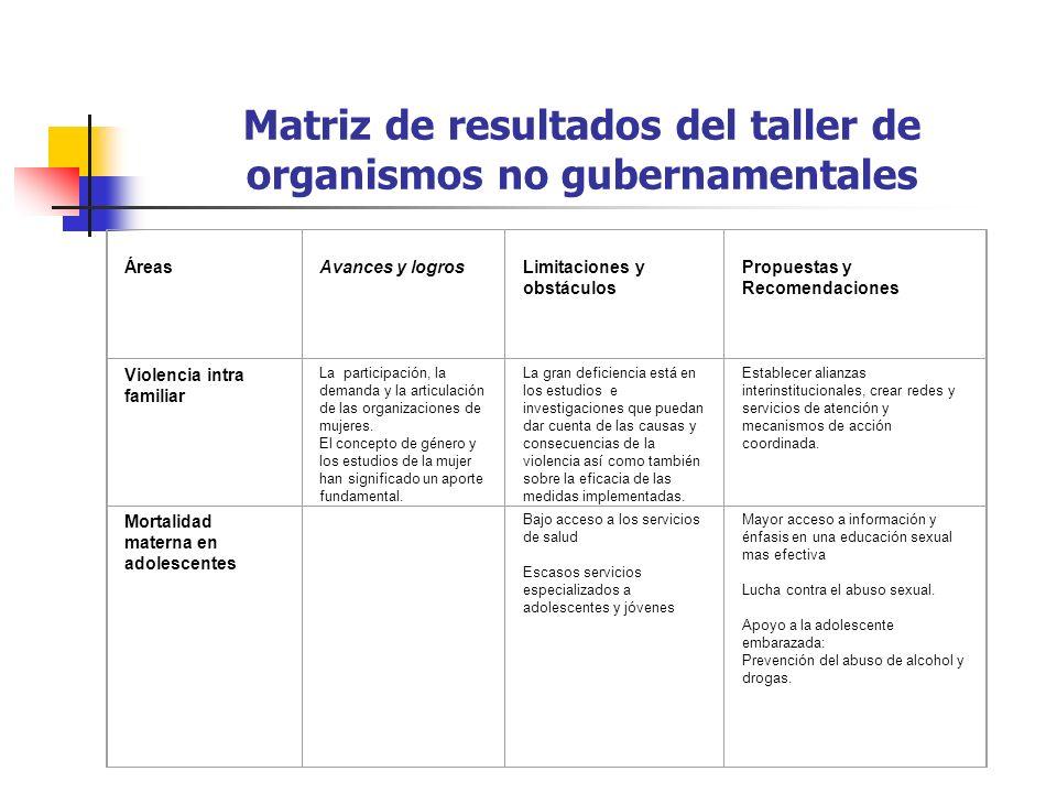 Matriz de resultados del taller de organismos no gubernamentales ÁreasAvances y logrosLimitaciones y obstáculos Propuestas y Recomendaciones Violencia