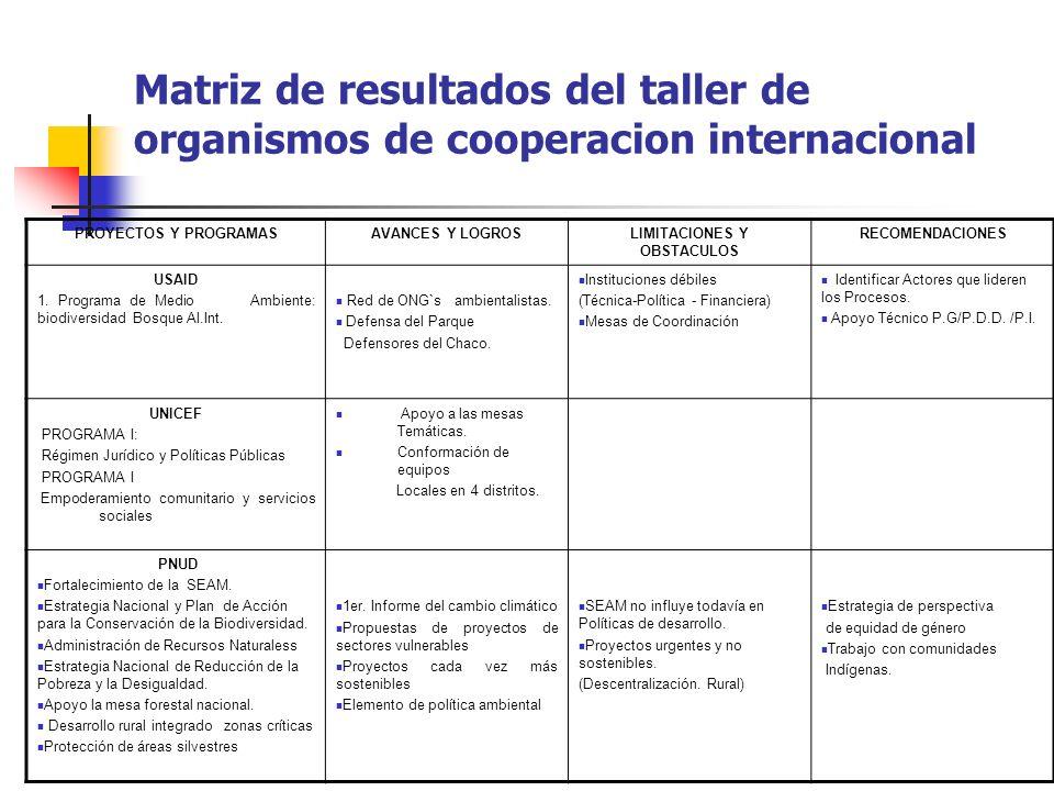 Matriz de resultados del taller de organismos de cooperacion internacional PROYECTOS Y PROGRAMASAVANCES Y LOGROSLIMITACIONES Y OBSTACULOS RECOMENDACIO