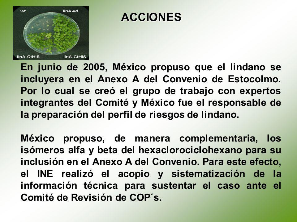 En junio de 2005, México propuso que el lindano se incluyera en el Anexo A del Convenio de Estocolmo.