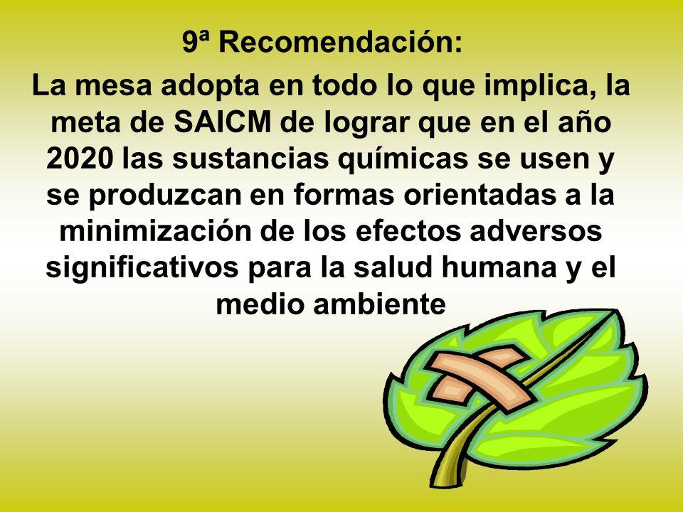 La mesa adopta en todo lo que implica, la meta de SAICM de lograr que en el año 2020 las sustancias químicas se usen y se produzcan en formas orientadas a la minimización de los efectos adversos significativos para la salud humana y el medio ambiente 9ª Recomendación: