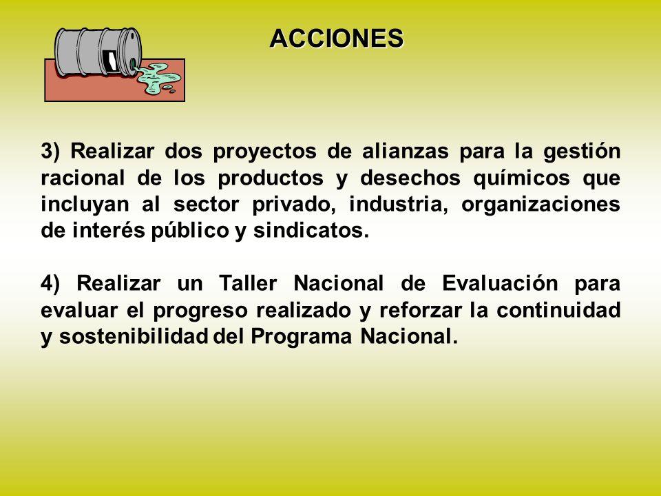 3) Realizar dos proyectos de alianzas para la gestión racional de los productos y desechos químicos que incluyan al sector privado, industria, organizaciones de interés público y sindicatos.