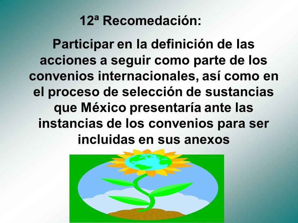 Participar en la definición de las acciones a seguir como parte de los convenios internacionales, así como en el proceso de selección de sustancias que México presentaría ante las instancias de los convenios para ser incluidas en sus anexos 12ª Recomedación: