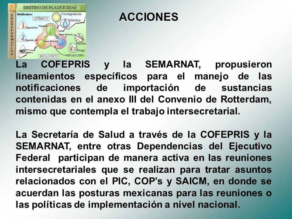 La COFEPRIS y la SEMARNAT, propusieron lineamientos específicos para el manejo de las notificaciones de importación de sustancias contenidas en el anexo III del Convenio de Rotterdam, mismo que contempla el trabajo intersecretarial.