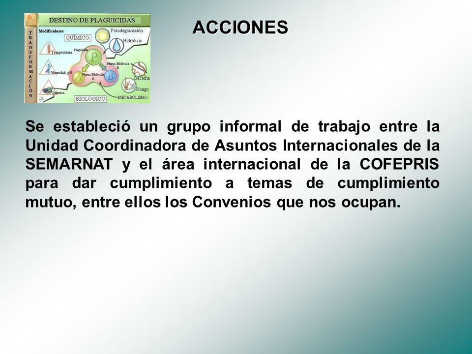 Se estableció un grupo informal de trabajo entre la Unidad Coordinadora de Asuntos Internacionales de la SEMARNAT y el área internacional de la COFEPRIS para dar cumplimiento a temas de cumplimiento mutuo, entre ellos los Convenios que nos ocupan.