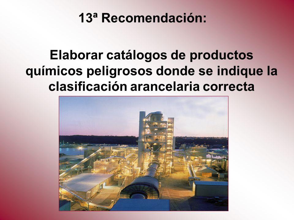 Elaborar catálogos de productos químicos peligrosos donde se indique la clasificación arancelaria correcta 13ª Recomendación: