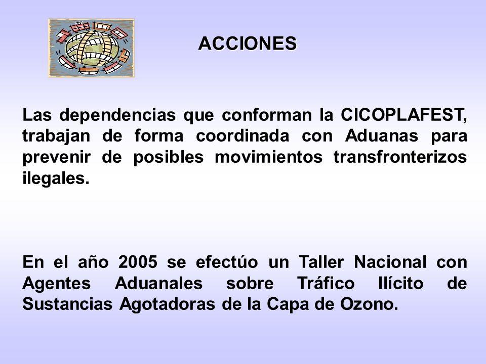 Las dependencias que conforman la CICOPLAFEST, trabajan de forma coordinada con Aduanas para prevenir de posibles movimientos transfronterizos ilegales.