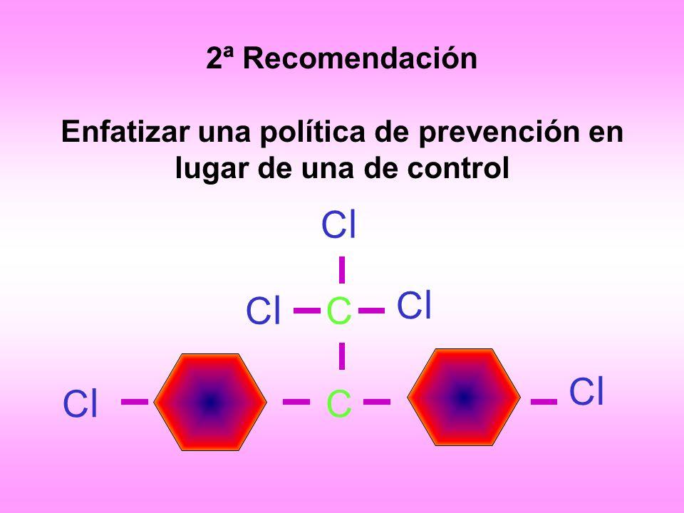 2ª Recomendación Enfatizar una política de prevención en lugar de una de control ClCl ClCl ClCl ClCl ClCl C C