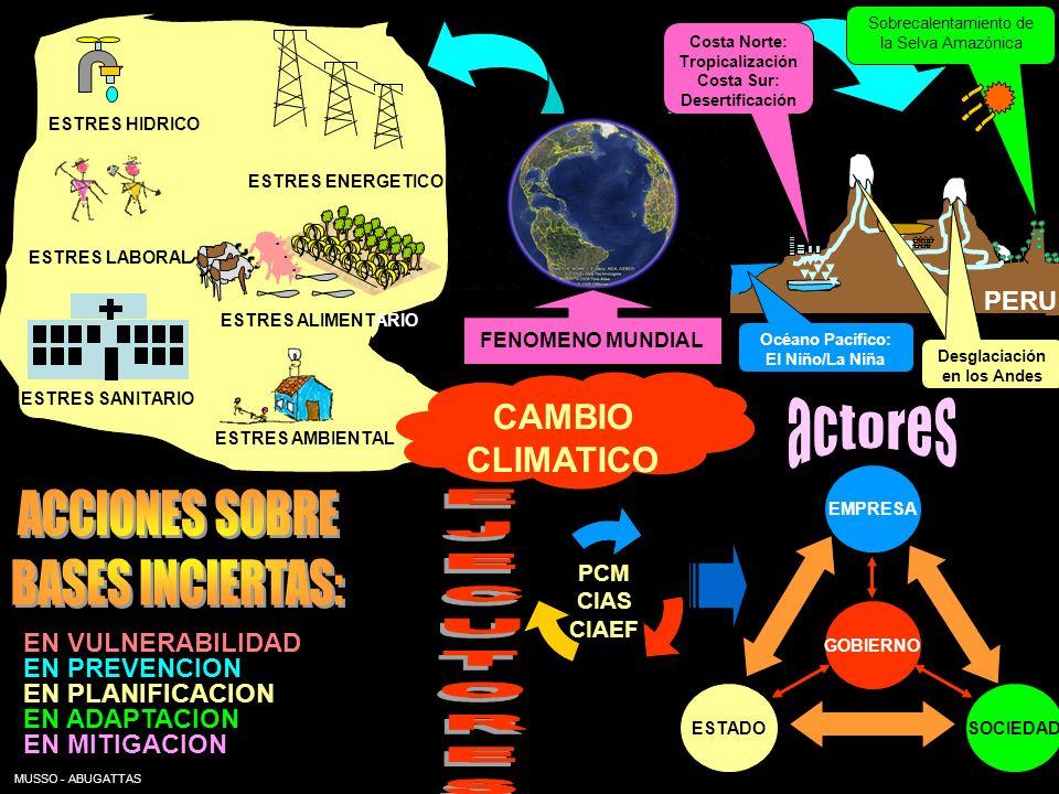 CAMBIO CLIMATICO Costa Norte: Tropicalización Costa Sur: Desertificación Sobrecalentamiento de la Selva Amazónica ESTRES HIDRICO ESTRES ENERGETICO EST