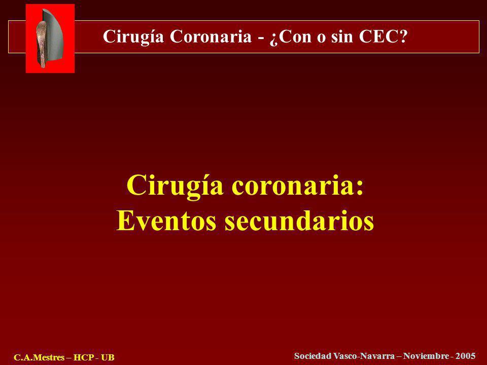 Cirugía Coronaria - ¿Con o sin CEC? C.A.Mestres – HCP - UB Sociedad Vasco-Navarra – Noviembre - 2005 Cirugía coronaria: Eventos secundarios