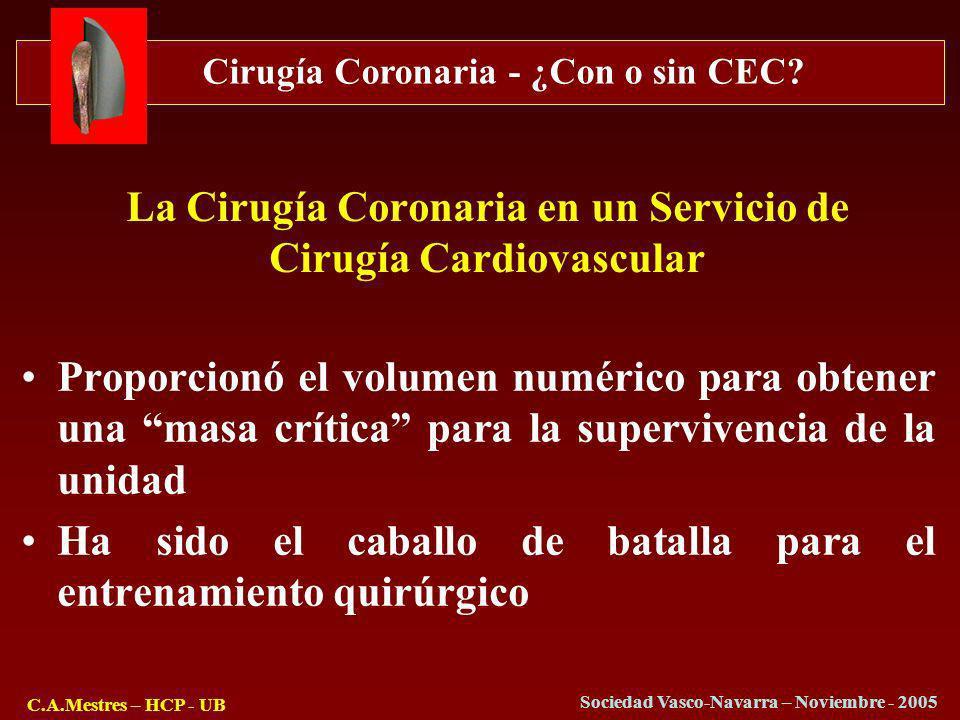 Cirugía Coronaria - ¿Con o sin CEC? C.A.Mestres – HCP - UB Sociedad Vasco-Navarra – Noviembre - 2005 La Cirugía Coronaria en un Servicio de Cirugía Ca