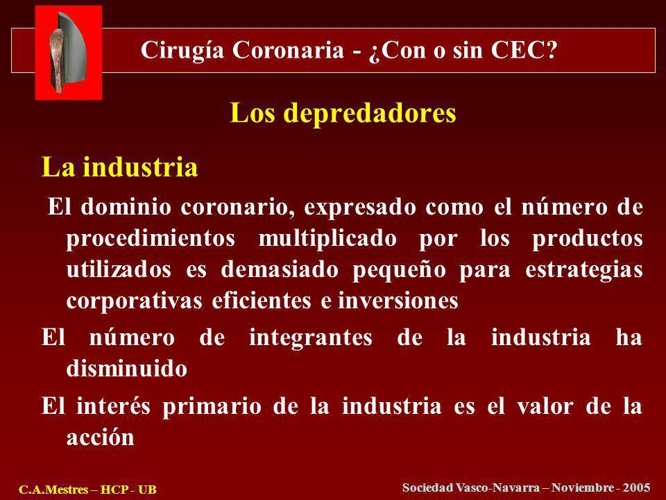 Cirugía Coronaria - ¿Con o sin CEC? C.A.Mestres – HCP - UB Sociedad Vasco-Navarra – Noviembre - 2005 Los depredadores La industria El dominio coronari