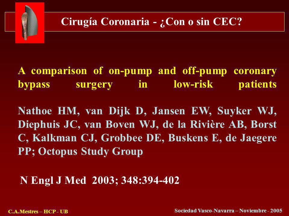 Cirugía Coronaria - ¿Con o sin CEC? C.A.Mestres – HCP - UB Sociedad Vasco-Navarra – Noviembre - 2005 A comparison of on-pump and off-pump coronary byp