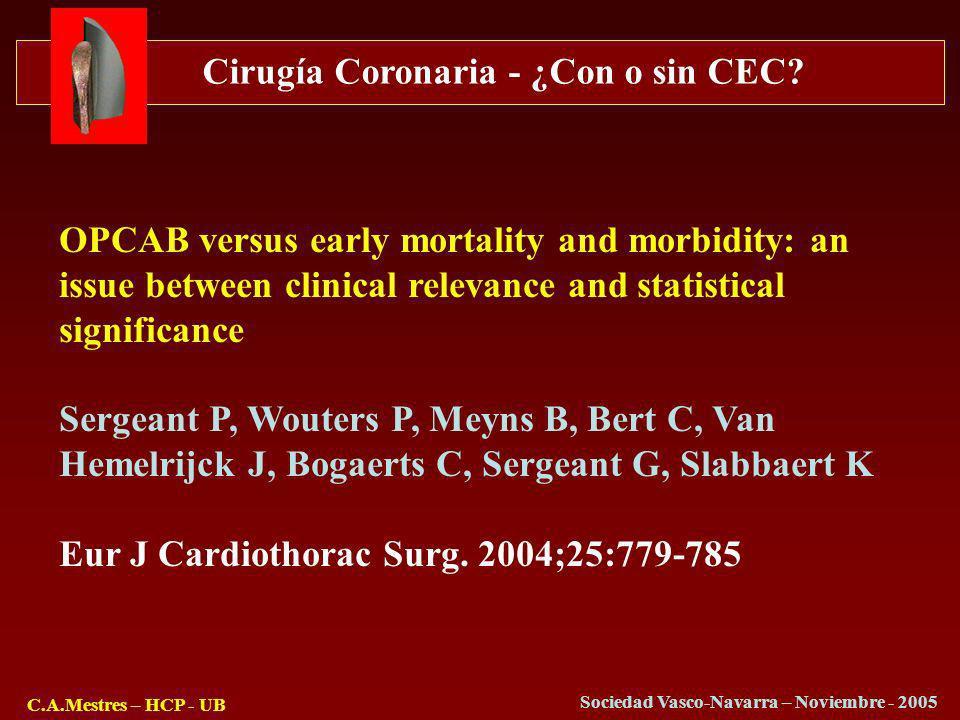 Cirugía Coronaria - ¿Con o sin CEC? C.A.Mestres – HCP - UB Sociedad Vasco-Navarra – Noviembre - 2005 OPCAB versus early mortality and morbidity: an is