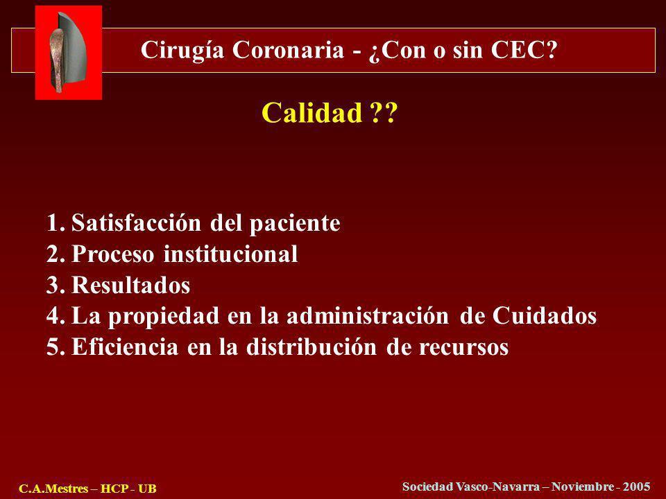 Cirugía Coronaria - ¿Con o sin CEC? C.A.Mestres – HCP - UB Sociedad Vasco-Navarra – Noviembre - 2005 1.Satisfacción del paciente 2.Proceso institucion
