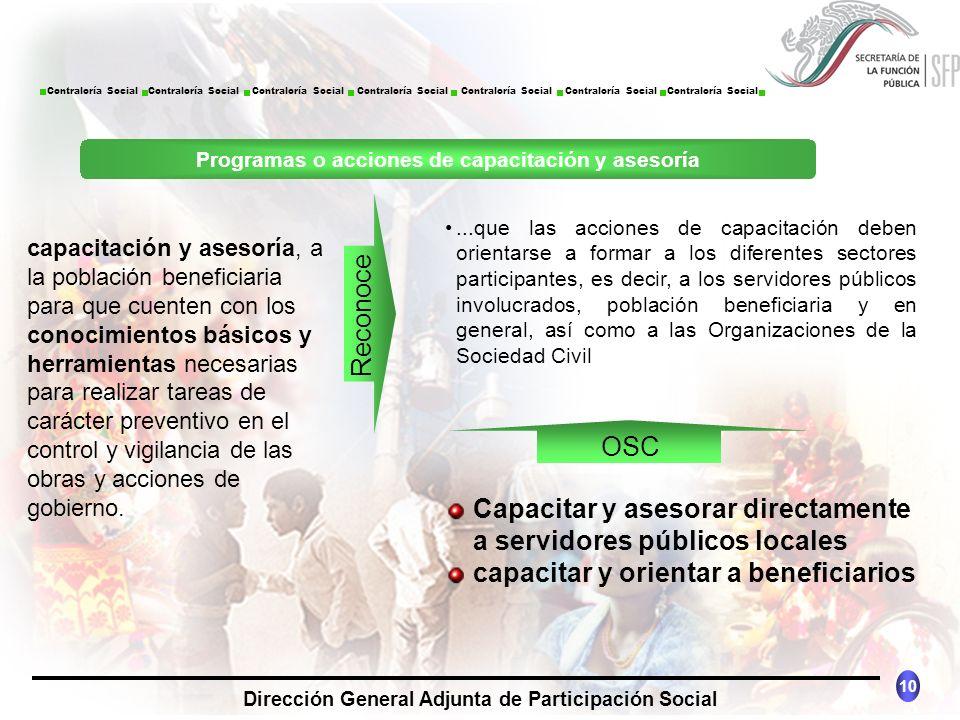 CONTRALORÍA SOCIAL México 10 Dirección General Adjunta de Participación Social Contraloría Social Contraloría Social Contraloría Social Contraloría So
