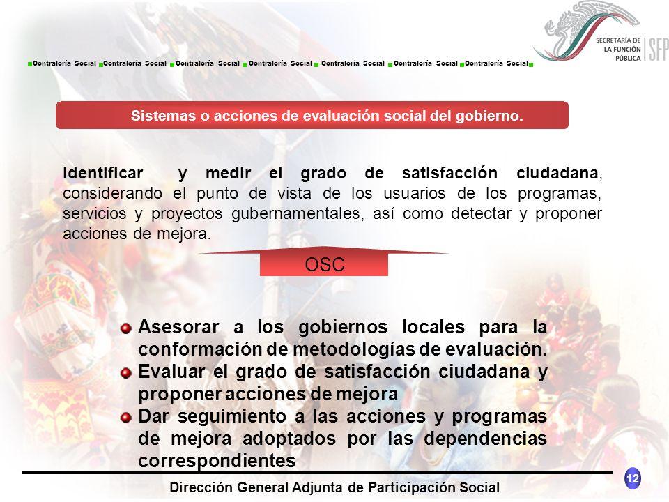 CONTRALORÍA SOCIAL México 12 Dirección General Adjunta de Participación Social Contraloría Social Contraloría Social Contraloría Social Contraloría So