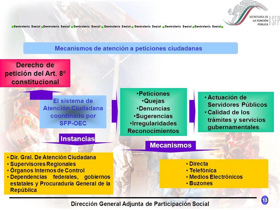 CONTRALORÍA SOCIAL México 13 Dirección General Adjunta de Participación Social Contraloría Social Contraloría Social Contraloría Social Contraloría So