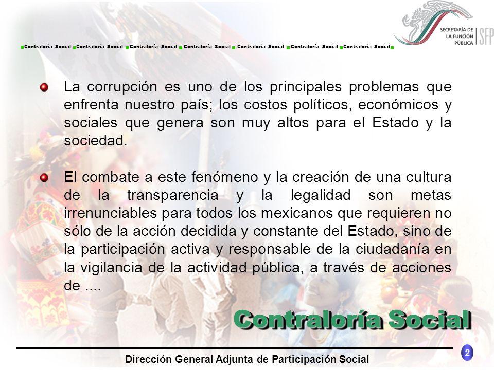 CONTRALORÍA SOCIAL México 2 Dirección General Adjunta de Participación Social Contraloría Social Contraloría Social Contraloría Social Contraloría Soc