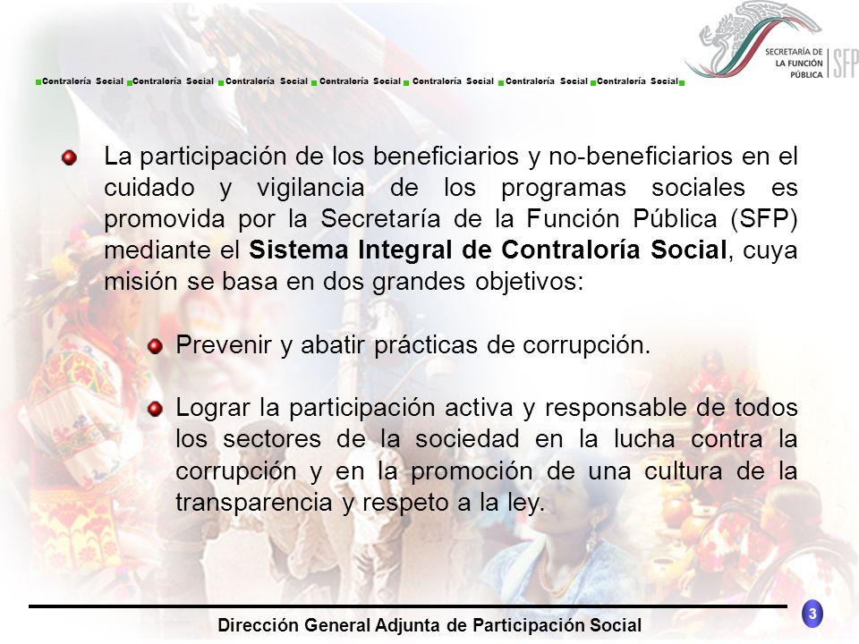 CONTRALORÍA SOCIAL México 3 Dirección General Adjunta de Participación Social Contraloría Social Contraloría Social Contraloría Social Contraloría Soc