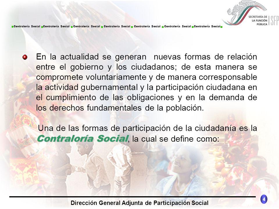 CONTRALORÍA SOCIAL México 4 Dirección General Adjunta de Participación Social Contraloría Social Contraloría Social Contraloría Social Contraloría Soc