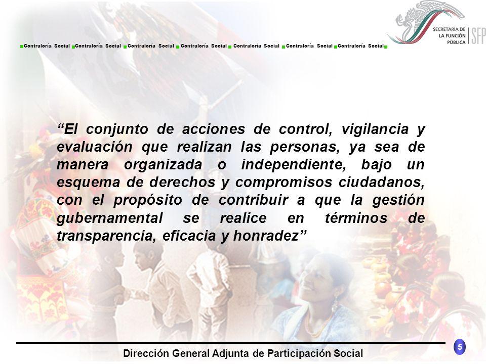 CONTRALORÍA SOCIAL México 5 Dirección General Adjunta de Participación Social Contraloría Social Contraloría Social Contraloría Social Contraloría Soc