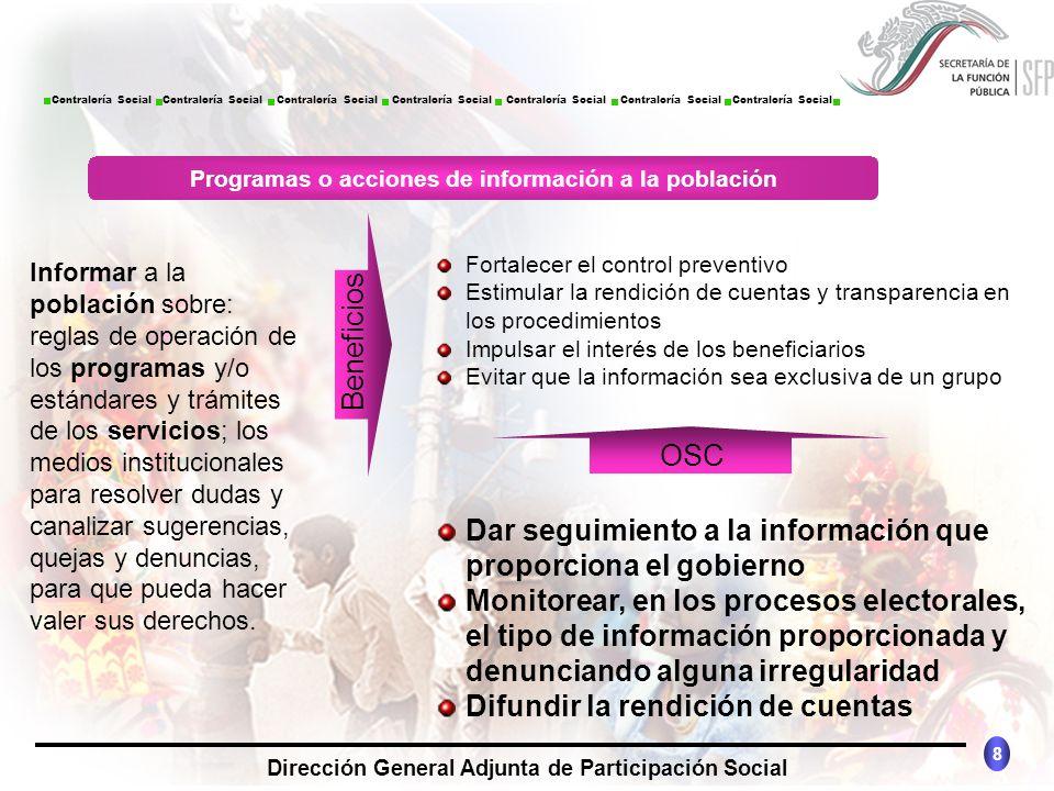 CONTRALORÍA SOCIAL México 8 Dirección General Adjunta de Participación Social Contraloría Social Contraloría Social Contraloría Social Contraloría Soc