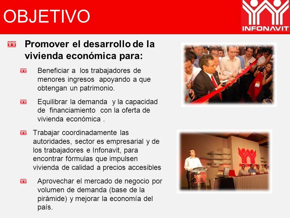 OBJETIVO Promover el desarrollo de la vivienda económica para: Beneficiar a los trabajadores de menores ingresos apoyando a que obtengan un patrimonio.