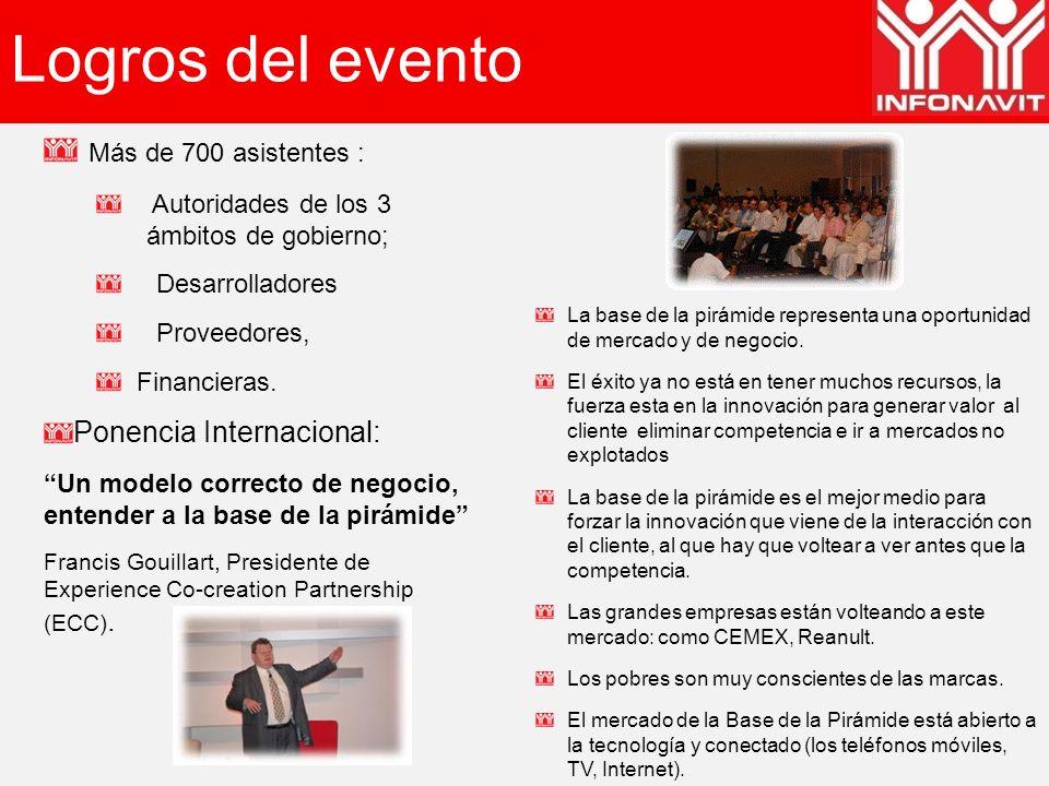 Logros del evento Más de 700 asistentes : Autoridades de los 3 ámbitos de gobierno; Desarrolladores Proveedores, Financieras. Ponencia Internacional: