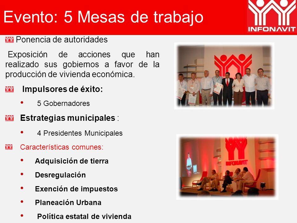 Evento: 5 Mesas de trabajo Ponencia de autoridades Exposición de acciones que han realizado sus gobiernos a favor de la producción de vivienda económica.