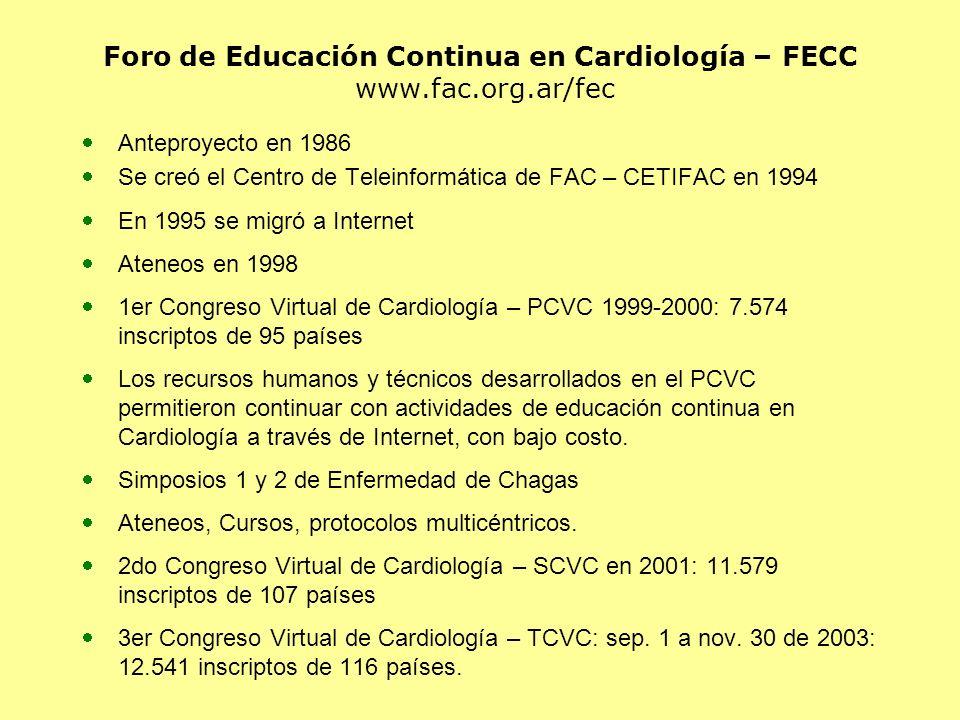 Foro de Educación Continua en Cardiología – FECC www.fac.org.ar/fec Anteproyecto en 1986 Se creó el Centro de Teleinformática de FAC – CETIFAC en 1994