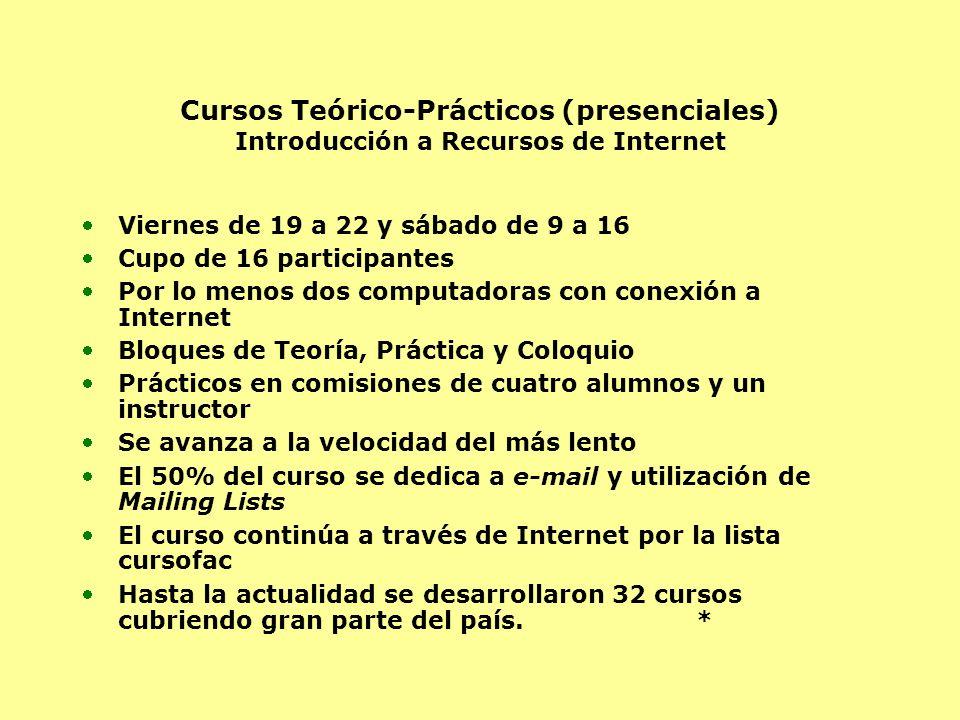 Cursos Teórico-Prácticos (presenciales) Introducción a Recursos de Internet Viernes de 19 a 22 y sábado de 9 a 16 Cupo de 16 participantes Por lo meno