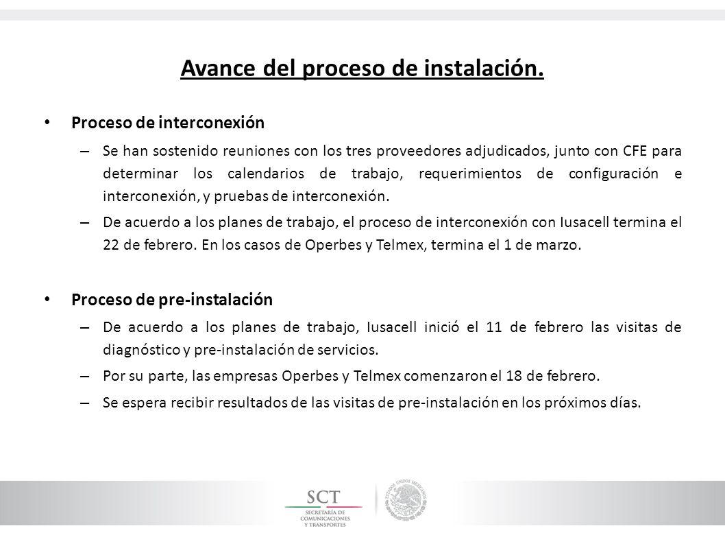 Avance del proceso de instalación. Proceso de interconexión – Se han sostenido reuniones con los tres proveedores adjudicados, junto con CFE para dete