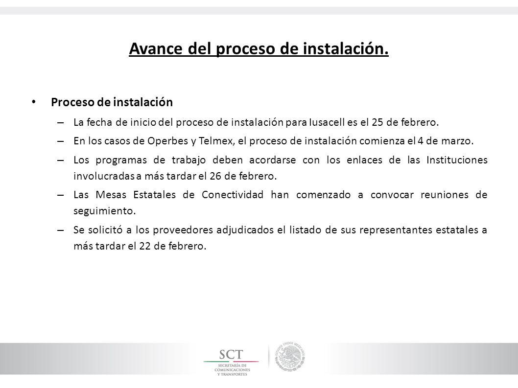 Proceso de instalación – La fecha de inicio del proceso de instalación para Iusacell es el 25 de febrero. – En los casos de Operbes y Telmex, el proce