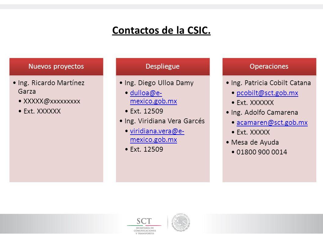 Contactos de la CSIC. Nuevos proyectos Ing. Ricardo Martínez Garza XXXXX@xxxxxxxxx Ext. XXXXXX Despliegue Ing. Diego Ulloa Damy dulloa@e- mexico.gob.m