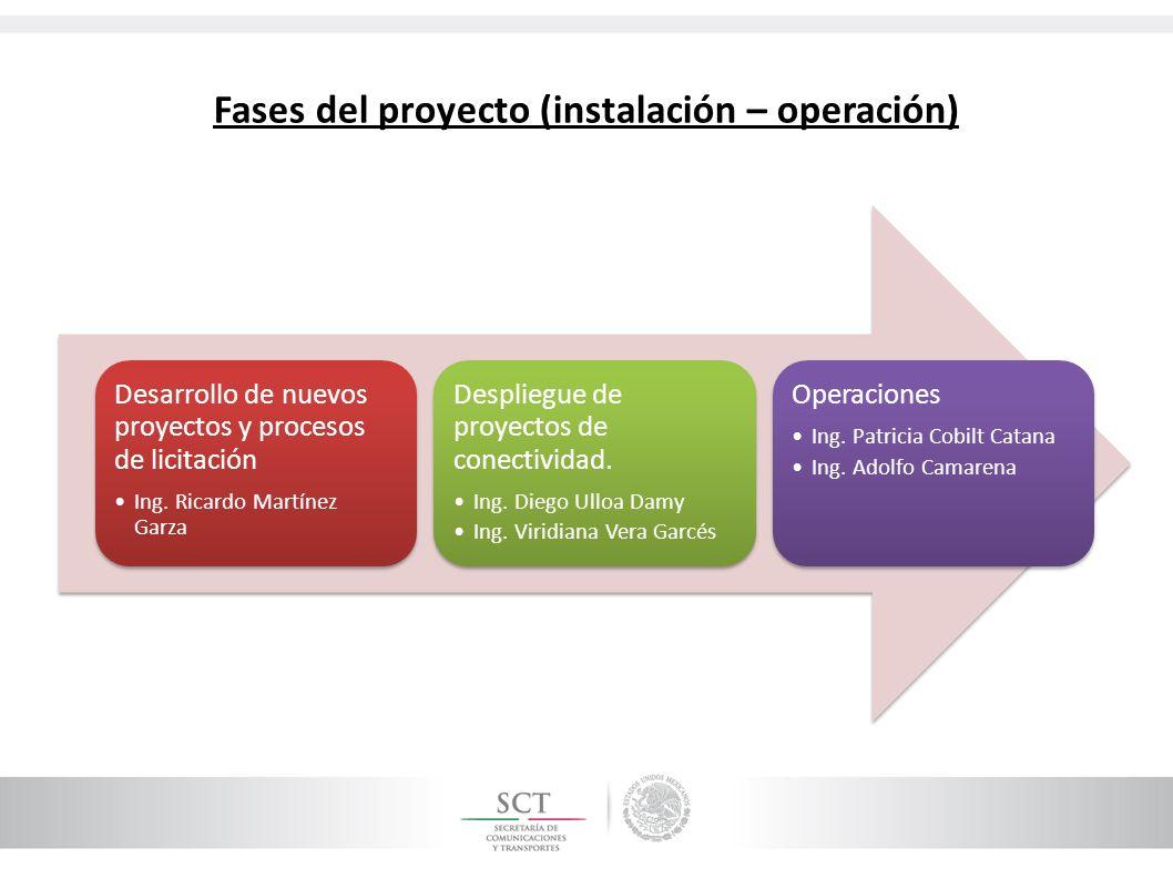 Fases del proyecto (instalación – operación) Desarrollo de nuevos proyectos y procesos de licitación Ing. Ricardo Martínez Garza Despliegue de proyect