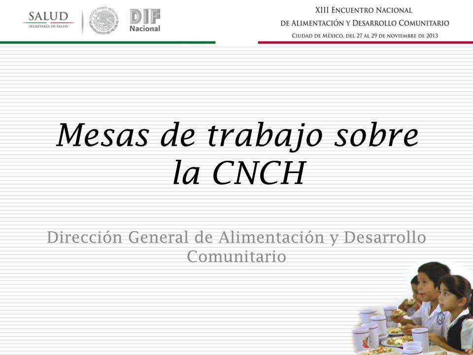 Mesas de trabajo sobre la CNCH Dirección General de Alimentación y Desarrollo Comunitario
