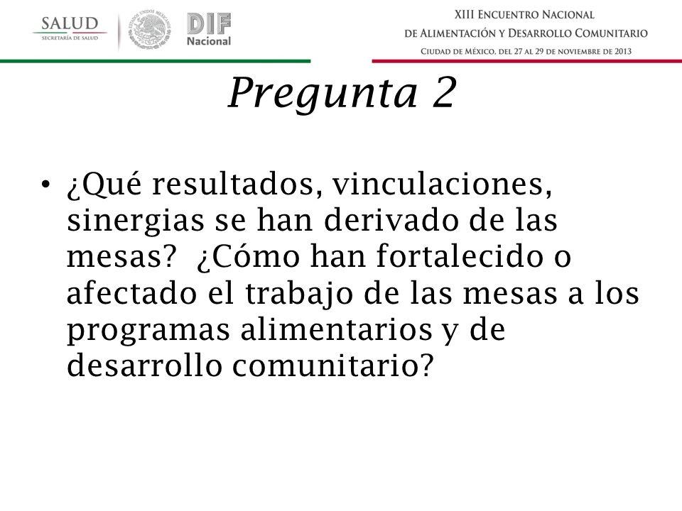 Pregunta 2 ¿Qué resultados, vinculaciones, sinergias se han derivado de las mesas.