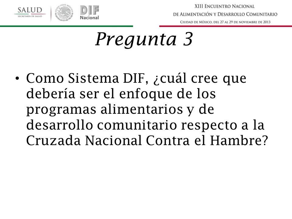Pregunta 3 Como Sistema DIF, ¿cuál cree que debería ser el enfoque de los programas alimentarios y de desarrollo comunitario respecto a la Cruzada Nacional Contra el Hambre?