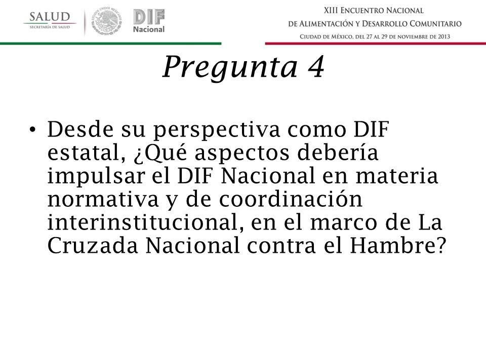 Pregunta 4 Desde su perspectiva como DIF estatal, ¿Qué aspectos debería impulsar el DIF Nacional en materia normativa y de coordinación interinstitucional, en el marco de La Cruzada Nacional contra el Hambre?