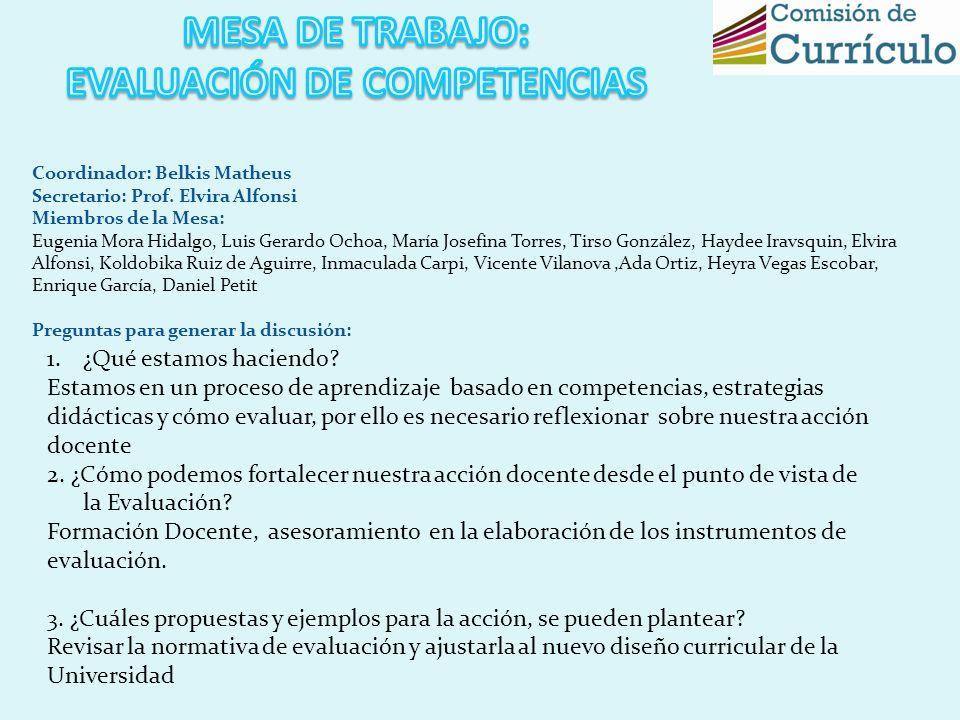 Coordinador: Belkis Matheus Secretario: Prof. Elvira Alfonsi Miembros de la Mesa: Eugenia Mora Hidalgo, Luis Gerardo Ochoa, María Josefina Torres, Tir
