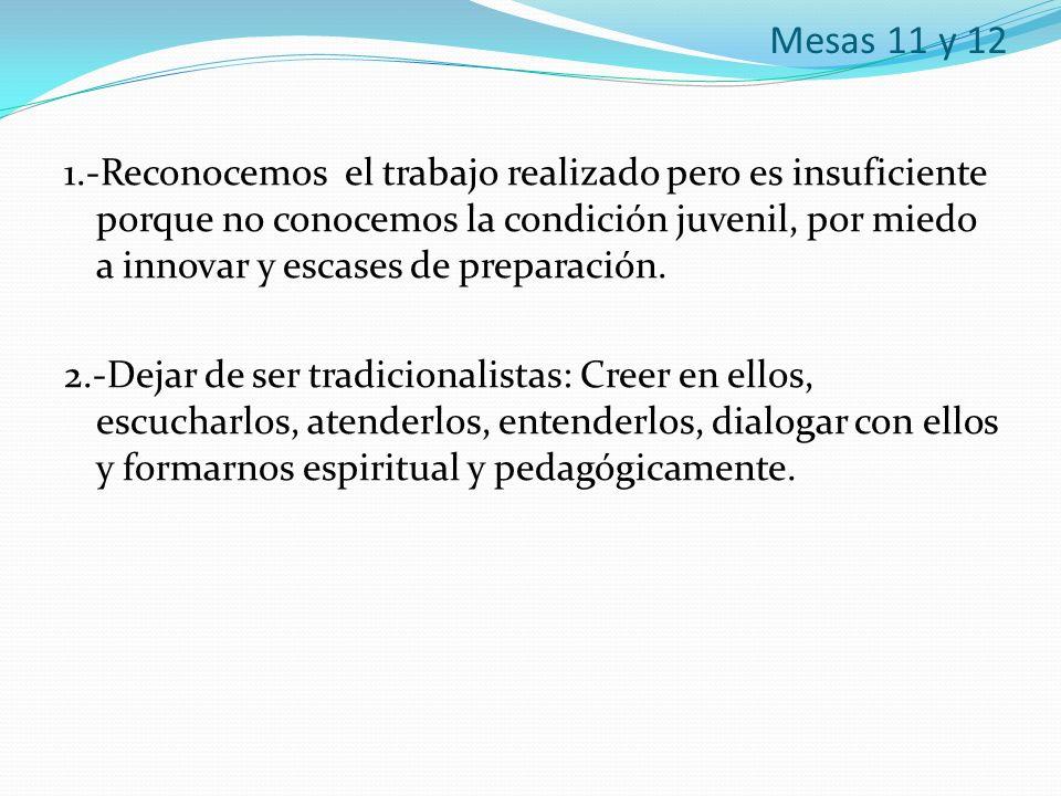 Mesas 11 y 12 1.-Reconocemos el trabajo realizado pero es insuficiente porque no conocemos la condición juvenil, por miedo a innovar y escases de prep