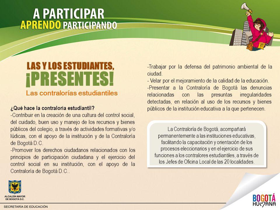 La Contraloría de Bogotá, acompañará permanentemente a las instituciones educativas, facilitando la capacitación y orientación de los procesos eleccio